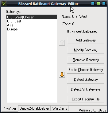 Blizzard Battle.net Gateway Editor